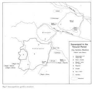 Samarcande, plan de la ville au XVe